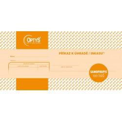 OPTYS 1109, Jednorázový příkaz k úhradě, samopropisovací, 21 x 10 cm, 100 listů