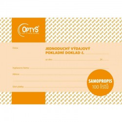 OPTYS 1303, Výdajový doklad A6, jednoduchý, samopropisovací, 100 listů