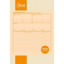OPTYS 1084, Zakázkový list A4, samopropisovací, 100 listů