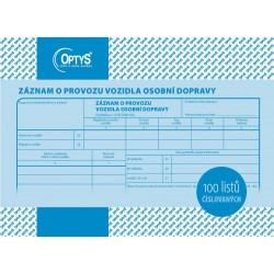 OPTYS 1177, Záznam o provozu vozidla osobní dopravy A5, číslovaný, 100 listů