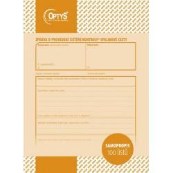 OPTYS 1217, Zpráva o provedení kontroly a čištění spalinové cesty A5, samopropisovací, 100 listů