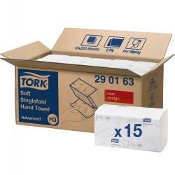 Tork Singlefold 290163, jemné papírové ručníky bílé, H3