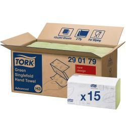 Tork Singlefold 290179, zelené papírové ručníky Advanced, H3