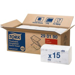 Tork Singlefold Flushable 290190 papírové ručníky splachovatelné bílé, H3