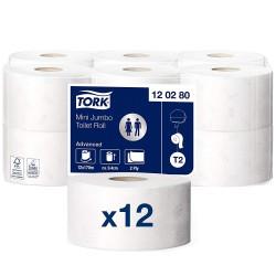 Tork Mini Jumbo 120280, toaletní papír dvouvrstvý Advanced bílý, 170m, T2