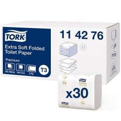 Tork Folded 114276, extra jemný toaletní papír dvouvrstvý Premium bílý, 252 ks, T3