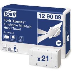 Tork Xpress 129089, Flushable papírové ručníky Multifold Advanced bílé, splachovací