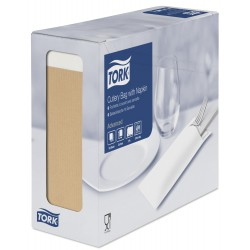 Tork 474637, Natural kapsička na příbory s bílým ubrouskem, 100 ks
