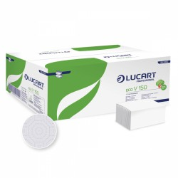 Lucart Eco V 150,  Dvouvrstvé papírové ručníky skládané, bílé, 3000 ks