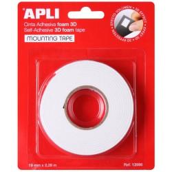 APLI 13986, Lepící pěnová páska, 3D, oboustranná, 19 mm x 2,28 m, bílá
