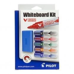Pilot Whiteboard Kit, sada 5 popisovačů, držáku a houby na tabule