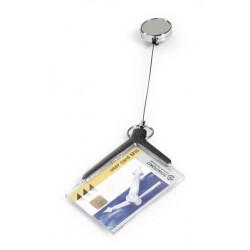 DURABLE 8307, pouzdro na karty DE LUXE PRO 54x85 mm, s chromovým navijákem