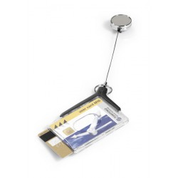 DURABLE 8308, pouzdro na karty DE LUXE PRO DUO 54x85 mm, s chromovým navijákem