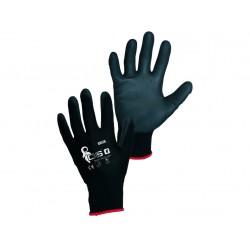 Povrstvené pracovní rukavice máčené Brita Black , velikost 7 - S