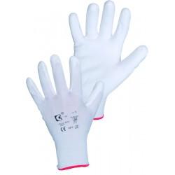 Povrstvené pracovní rukavice máčené Brita bílé, velikost 7 - S
