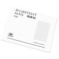 Milimetrový papír A3, blok 50 listů