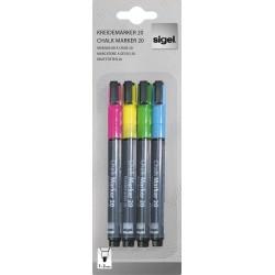 Sada barevných křídových popisovačů Sigel na skleněné tabule, kulatý hrot 1-2 mm