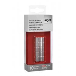 SIGEL Magnety SuperDym C5 Strong, válec 10x10 mm, stříbrný, sada 10 ks