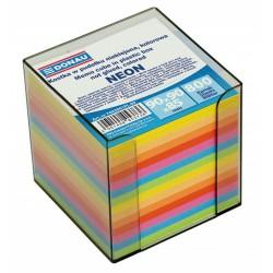 Donau poznámkové bločky syté barvy nelepené, 800 listů v plastovém stojánku, 90x90