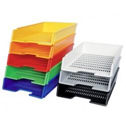 Plastové odkladače na dokumenty A4, zásuvky děrované plné barvy
