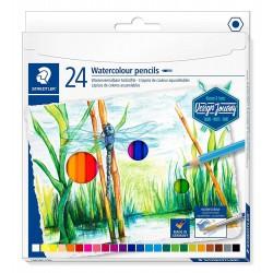 Staedtler Watercolour pencils, sada pastelek vodových a akvarelových, 24 barev