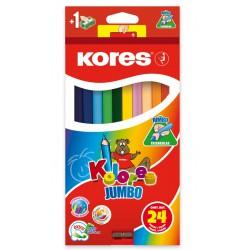 Kores Kolores Jumbo, trojhranné pastelky 5 mm, s ořezávátkem - 24 barev