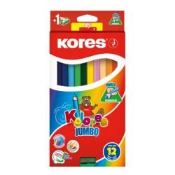 Kores Kolores Jumbo, trojhranné pastelky 5 mm, s ořezávátkem - 12 barev