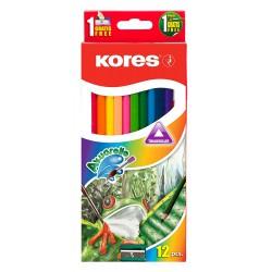 Kores Akuarelle, akvarelové pastelky trojhranné s ořezávátkem a štětcem, sada 12ks