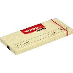 Kores žlutý samolepící bloček, rozměr 40x50 mm, 3x100 lístků