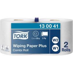 Tork 130041, papírová utěrka Plus - malá kombi role bílá, návin 255 m, balení 2 role