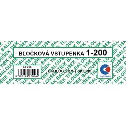 Baloušek ET305, bločková vstupenka 1-200 čísel