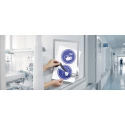 Informační rámeček pro hygienické předpisy, samolepící, stříbrný, 2 ks v balení