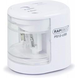 RAPESCO PS12-USB, Stolní elektrické ořezávátko bílé, 2 otvory, baterie/ USB