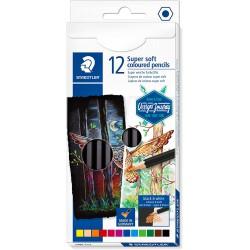 Staedtler šestihranné pastelky Design Journey Super Soft, sada 12 ks