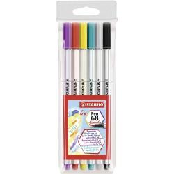 Stabilo Pen Brush 68, štetečkový fix s vláknovým hrotem, sada 6 ks