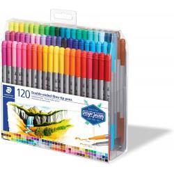 Staedtler fixy Design Journey 120 barev Twin-tip pen, oboustranný fix, sada 120 ks