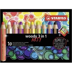 STABILO Woody Arty 10 barev, multifunkční pastely 3 v 1