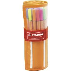 Stabilo Point 88 sada 30 barev v rolovacím pouzdru, inkoustový liner stopa 0,4 mm
