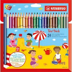Stabilo Trio thick, Silné Barevné pastelky trojhranné, 24 barev
