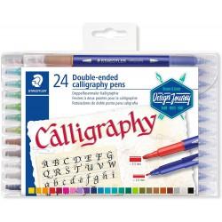 Staedtler Calligraphy Markers, kaligrafický popisovač, sada 24 různých barev, 2 oboustranné hroty
