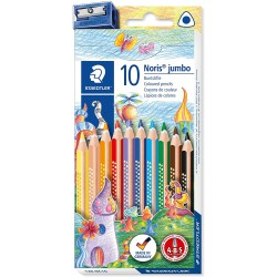 Staedtler trojhranné pastelky Noris Club Jumbo, sada 10 ks, ořezávátko zdarma