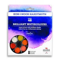 KOH-I-NOOR 174507/4, brilantní vodové barvy kulaté, 48 barev