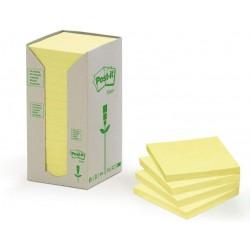 3M Post-it samolepící recyklovaný bloček 654-1T, rozměr 76x76 mm, 16x100 lístků, žluté barvy