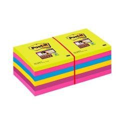 3M Post-it 654 samolepící bloček, 76x76 mm, 12x90 lístků, mix barev, silně lepící