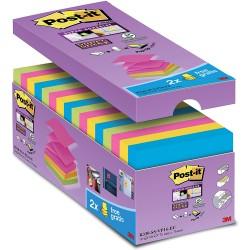 3M Post-it R330 samolepící bloček, 76x76 mm, 16x90 lístků, mix barev, silně lepící, tvar Z