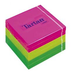 3M samolepicí bloček TARTAN barevný neon, kostka 76x76 mm, 6x100 lístků
