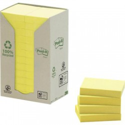 3M Post-it 653-1T, žlutý samolepící recyklovaný bloček, 38x51mm, 24x100 lístků