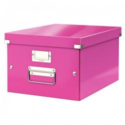 Střední archivační krabice Leitz Click & Store, formát A4, růžová