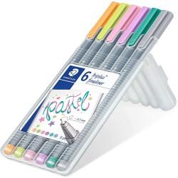 STAEDTLER triplus fineliner 334 pastelové barvy, sada 6 ks
