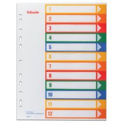 Celoplastové rejstříky Esselte popisovatelné na počítači A4 MAXI, 1 - 12 barev
